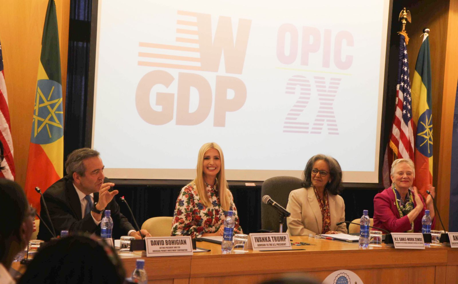 photo, Ivanka Trump and David Bohigian at the WGDP OPIC 2X announcement of 2X Africa, OPIC, Overseas Private Investment Corporation, supporting women entrepreneurs, women's initiative, investing in women